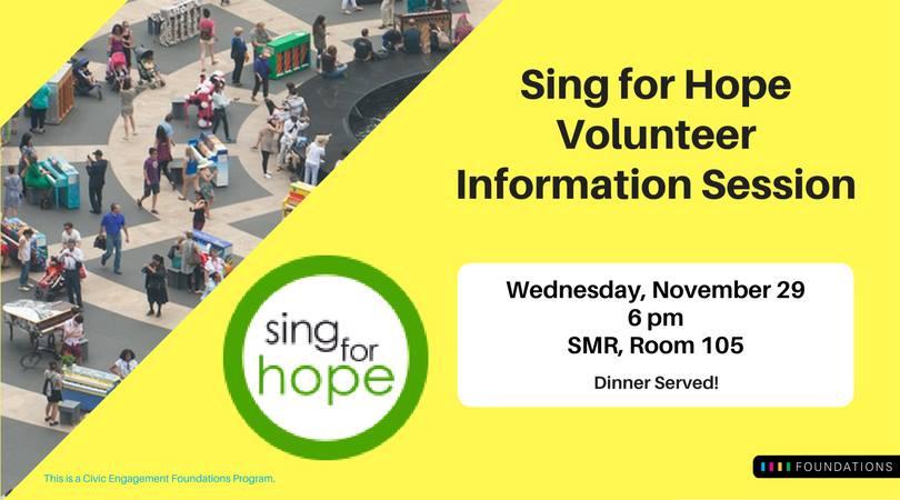 Sing for Hope Volunteer Information Session (Dinner Served)