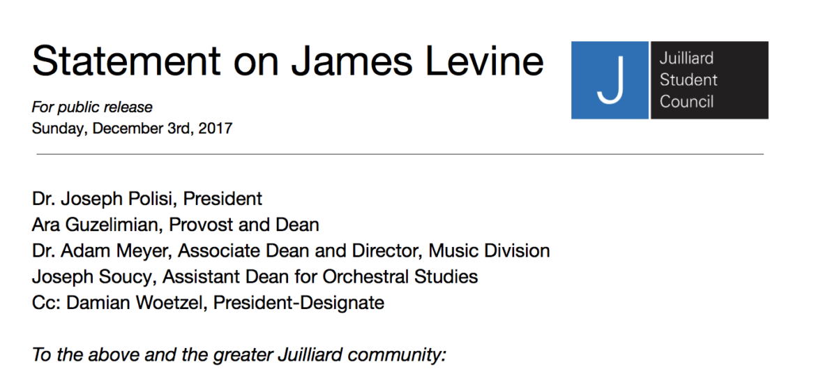 Student Council asks Juilliard to cancel James Levine appearance, issues statement