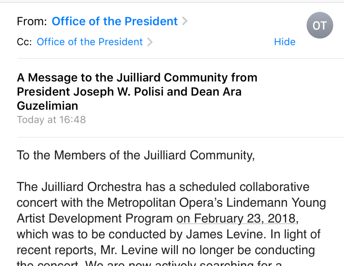 Levine Concert Appearance Cancelled; President Polisi and Dean